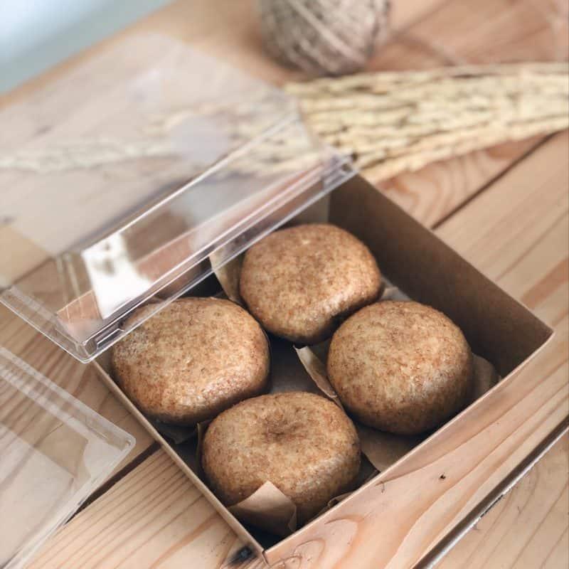 กล่องอาหาร จตุรัส ฝาใส สีคราฟท์น้ำตาล